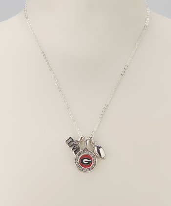 Georgia Bulldogs Silver Football Charm Necklace - Women