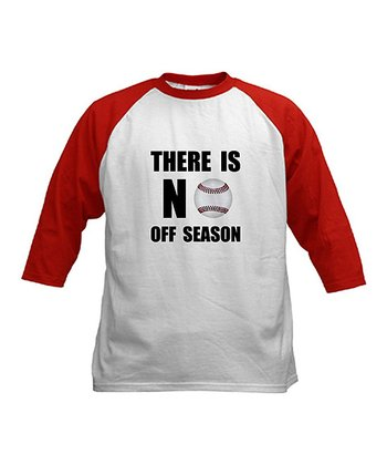 Red & White 'No Off Season' Raglan Top - Kids