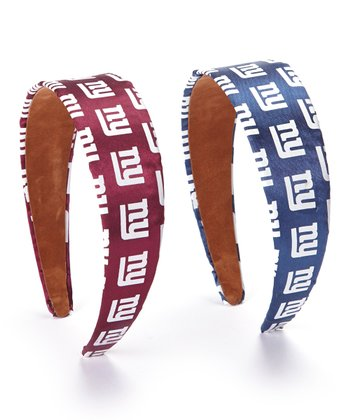New York Giants Blue & Red Headband Set