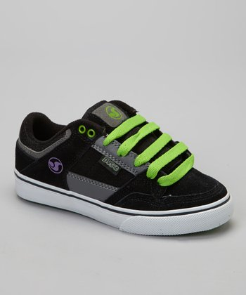 Black & Lime Suede Ignition Sneaker - Kids