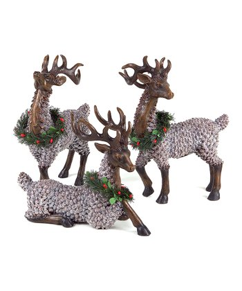 Pinecone Reindeer Figurine Set