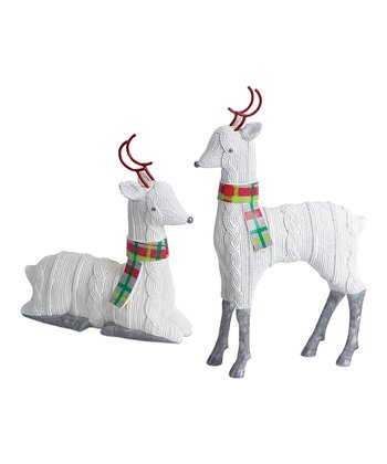 Knit Finish Reindeer Figurine Set