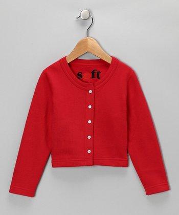 Red Classic Cardigan - Girls