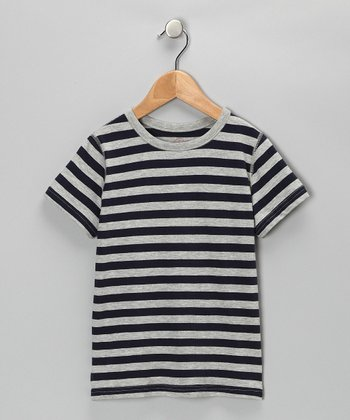 Navy & Gray Stripe Tee - Boys