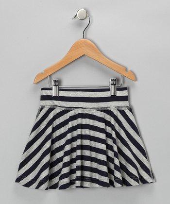 Navy & Gray Nautical Stripe Skirt - Girls