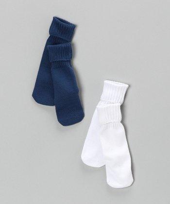 White & Navy Seamless Crew Socks Set