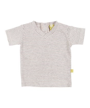 Charcoal Stripe Organic V-Neck Tee - Infant
