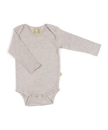 Charcoal Stripe Organic Long-Sleeve Bodysuit - Infant