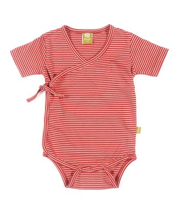Rose Stripe Organic Wrap Bodysuit - Infant