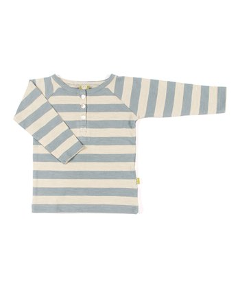 Teal Stripe Organic Crab Henley - Infant