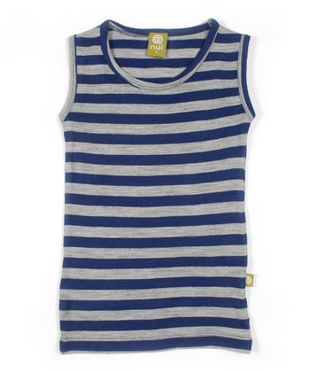 Navy Stripe Merino Organic Tank - Toddler & Kids