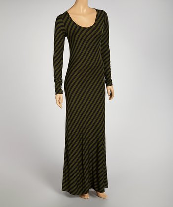Olive & Black Stripe Maxi Dress - Women