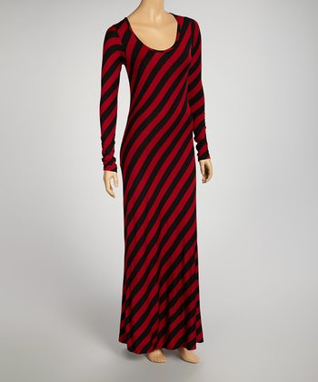 Red & Black Stripe Maxi Dress - Women