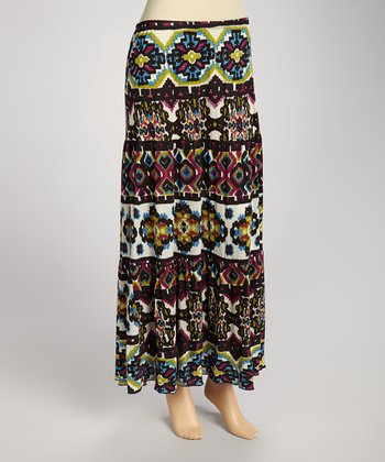 Black & Red Tribal Maxi Skirt - Women