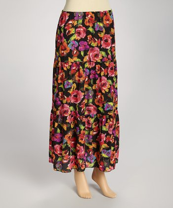 Black & Pink Floral Maxi Skirt - Women