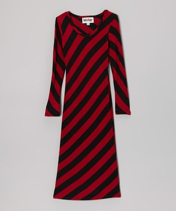 Red & Black Stripe Maxi Dress - Toddler & Girls