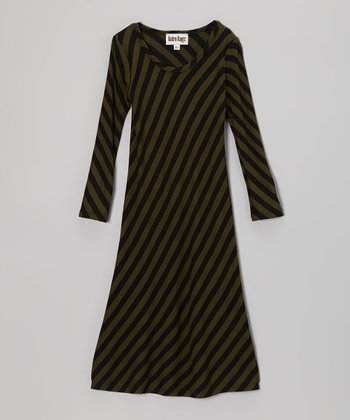 Olive & Black Stripe Maxi Dress - Toddler & Girls