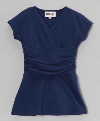 Navy Surplice Dress - Toddler & Girls