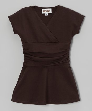 Brown Surplice Dress - Toddler & Girls