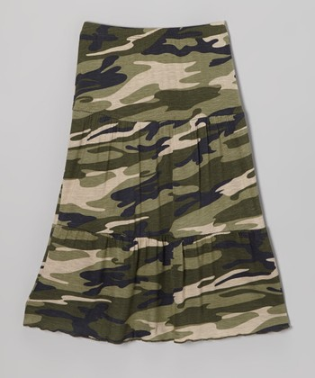 Green Camo Maxi Skirt - Toddler & Girls