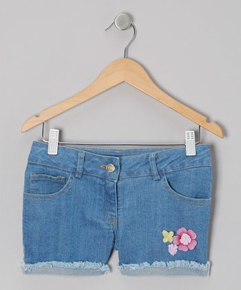 Medium Wash Vogue Floral Denim Shorts - Toddler & Girls