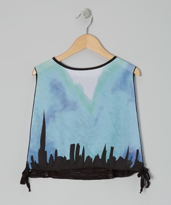 Blue & Black Real World Sheer Tie Top - Girls