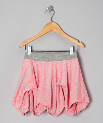 Pink Stripe Valley Girl Skirt - Girls
