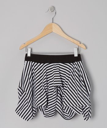 Black & White Stripe Valley Girl Skirt - Girls