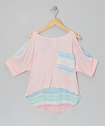 Pink Watercolor Stripe Bora Bora Top - Girls