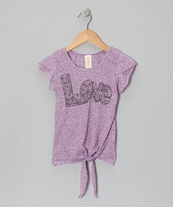 Purple 'Love' English Tea Tie Tee - Girls