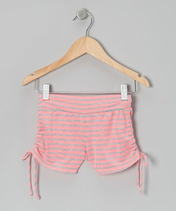 Pink & Gray Stripe Side-Tie Shorts - Girls