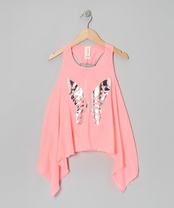 Neon Pink Lady Butterfly Tunic - Girls