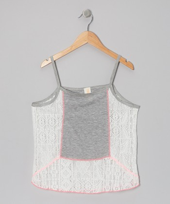 Ivory & Gray Lace Lady Butterfly Tank - Girls