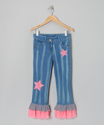 Denim Stripe Nautical Flare Preppy Pants - Toddler & Girls