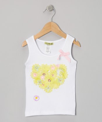 White & Yellow Heart Okey Dokey Tank - Toddler & Girls