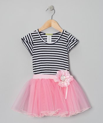 Gray & Pink Stripe Ever-After Tutu Dress - Toddler & Girls