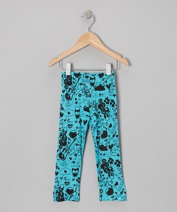 Turquoise Scribble Leggings - Toddler & Girls