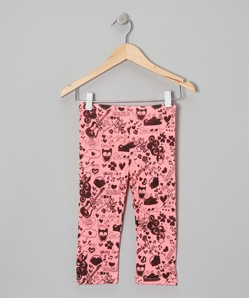 Neon Pink Scribble Leggings - Toddler & Girls