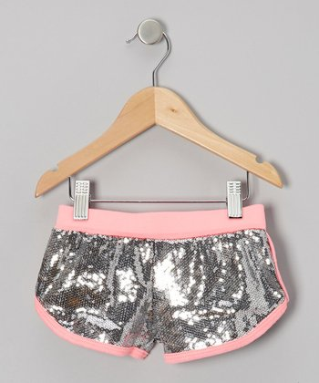Neon Pink Scribble Sequin Shorts - Toddler & Girls