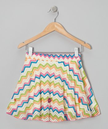 Rainbow Zigzag Sunshine Patch Skirt - Toddler & Girls