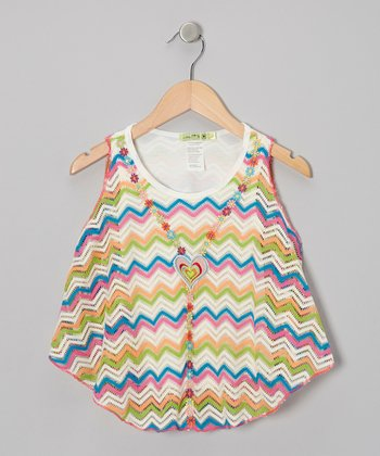 Rainbow Zigzag Sunshine Butterfly Swing Top - Toddler & Girls