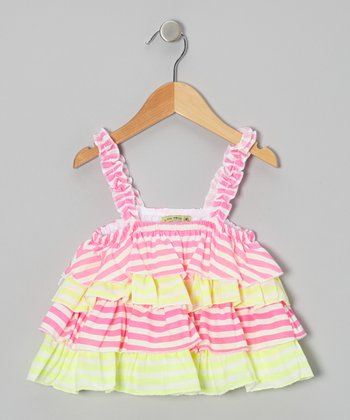 Pink & Lime Stripe Tiered Tunic - Girls