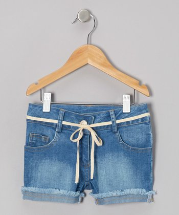Light Wash Truffle Denim Shorts - Girls