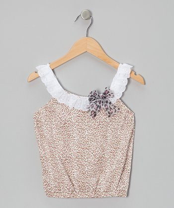 Pink Cheetah Truffle Yoke Top - Girls