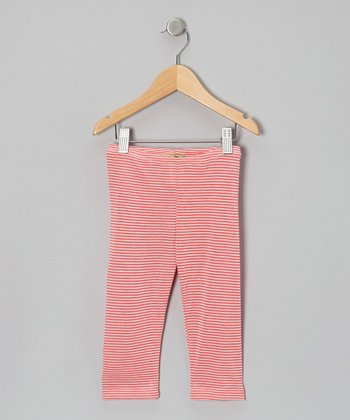 Coral Stripe Mila Capri Leggings - Toddler & Girls