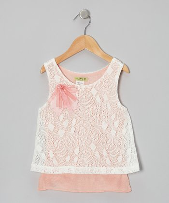 Peach & White Peche Layered Lace Top - Toddler & Girls
