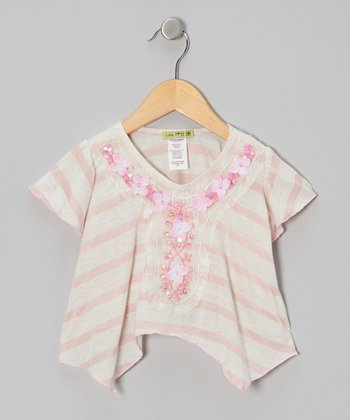 Pink Stripe Sequin Aqua Peche Top - Toddler & Girls
