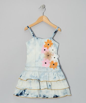 White Floral Bloom Time Denim Dress - Girls