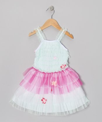 Aqua & Pink Zebra Tiered Tutu Dress - Infant, Toddler & Girls