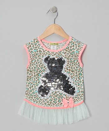 Mint Aqua Leo Sequin Bear Top - Toddler & Girls